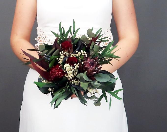 Small woodland boho wedding protea bridesmaid bouquet