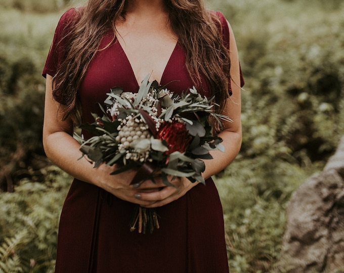 Woodland boho wedding protea bridesmaid bouquet, burgundy real flowers and greenery eucalyptus, woodsy realistic natural floral decoration