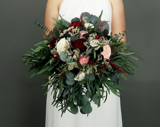 Boho wedding bouquet in shades of deep red, blush pink and black with preserved eucalyptus