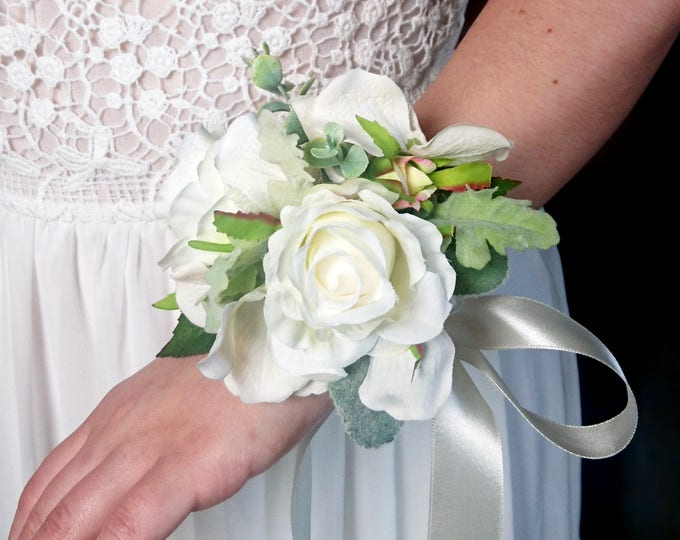 Wedding wrist corsage realistic silk flowers roses dusty miller flocked leafs greenery ivory simple elegant green natural mother of bride