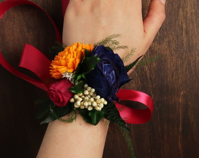 Colorful wrist corsage with sola flowers in yellow orange blue fuchsia pink, boho wedding, bridesmaid mothers flowers preserved greenery