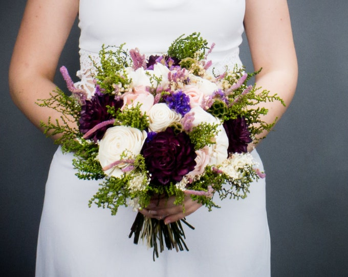 Natural wedding bouquet, mix of shades purples pink greenery, sola flowers, preserved flowers, bridal rustic romantic