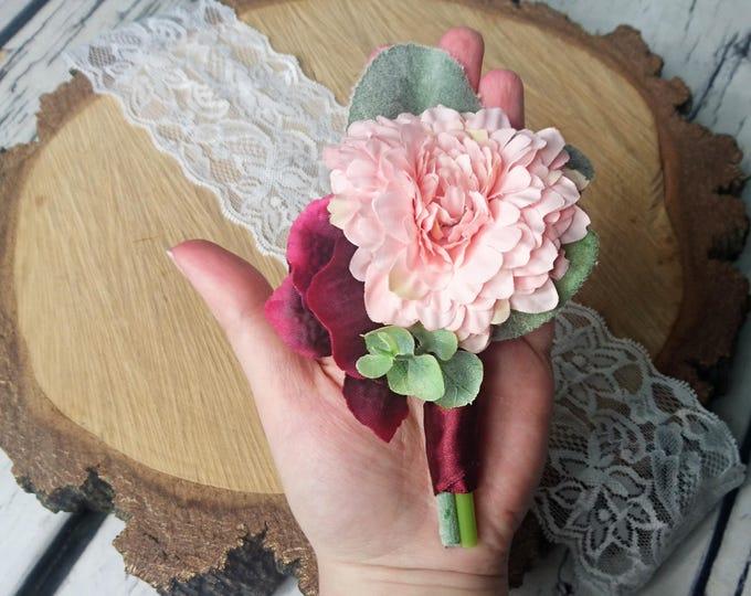 Wedding boutonniere realistic silk flowers dusty miller flocked leafs greenery pink peach burgundy marsala wine hydrangea