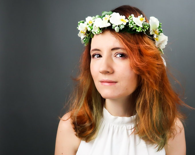 Tropical wedding orchid floral crown, realistic flowers, modern wedding, bridal flowers floral hairpiece wreath