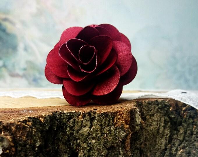 Wooden Flowers in  burgundy maroon wine diy bouquet  12 pcs rose stemmed on wire