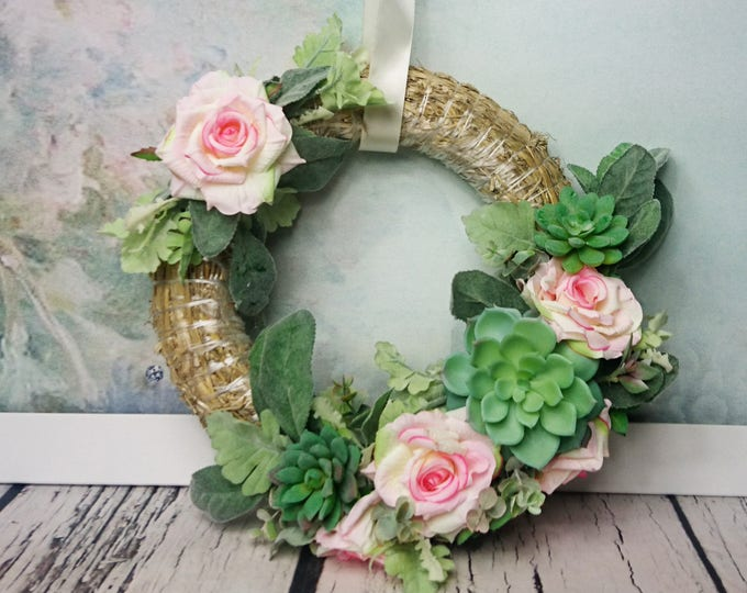 Wedding floral succulent greenery wreath centerpiece hanging backdrop arrangement country pink roses decor romantic home decor straw