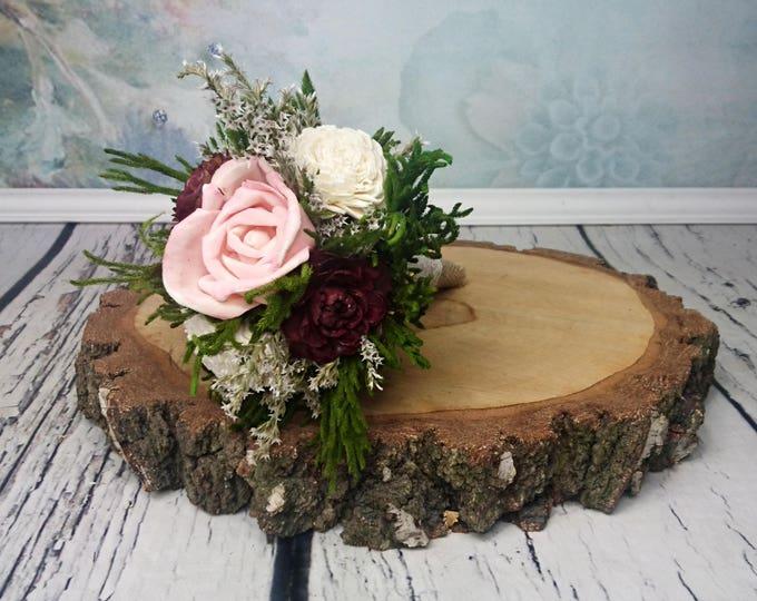 Flower girl wand burgundy blush pink green cedar rose rustic wedding dried flowers burlap Bridesmaids sola roses vintage custom woodland