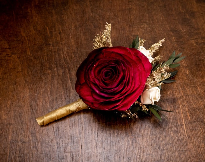 Deep red and gold sola rose flower boutonniere, elegant winter wedding, dried flowers preserved eucalyptus, single rose for Groom groomsman