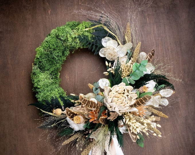 Boho rustic wreath with feathers and ribbons, preserved moss eucalyptus greenery, dried grasses, front door decor, natural country farmhouse