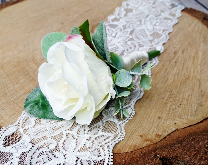 Wedding boutonniere realistic silk flowers single rose dusty miller flocked leafs greenery ivory simple elegant green natural