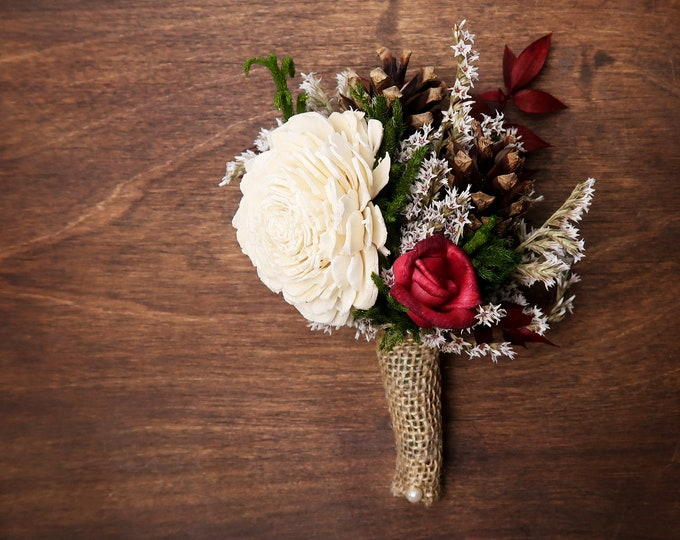 Ivory brown burgundy green rustic wedding woodland BOUTONNIERE groom Sola Flower dried limonium cypress pine cones burlap