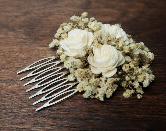 Baby's breath hair comb natural preserved gypsophila ivory sola flowers rustic woodland baby's breath hairpiece bridal accessory bridesmaid