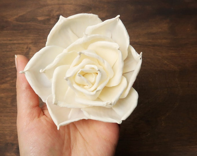 Wooden rose Sola Flowers wholesale bulk, wedding white ivory diy bouquet floral supply rustic 8cm natural table party decor