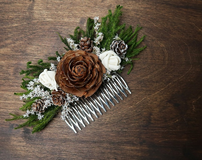 Green and brown  HAIR COMB with cedar rose