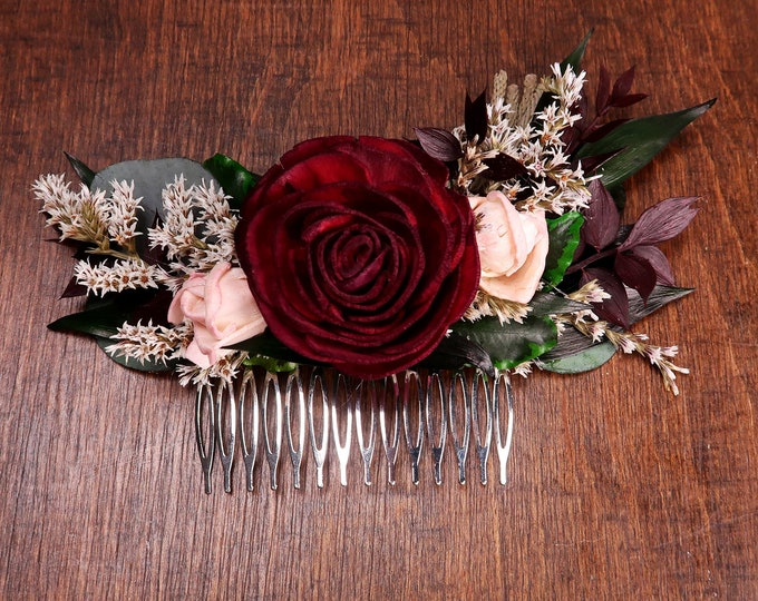 Bridal wedding hair comb in burgundy and blush pink, sola flowers hairpiece greenery