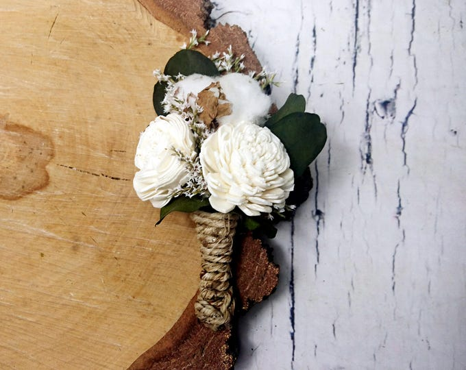 Boho wedding boutonniere with raw cotton boll sola and dried flowers  preserved eucalyptus leafs rustic wine wire for groom groomsman