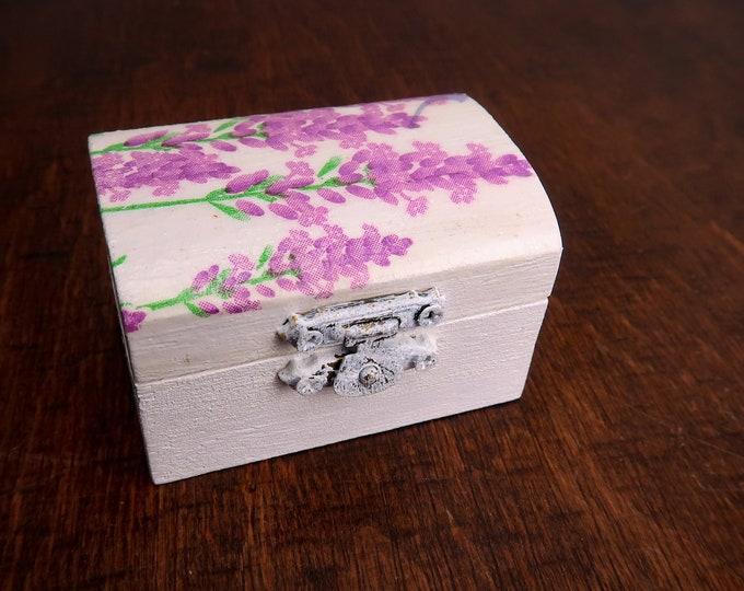 Lavender ring box romantic white engagement Wedding ring box Provence natural shabby chic proposal decoupage