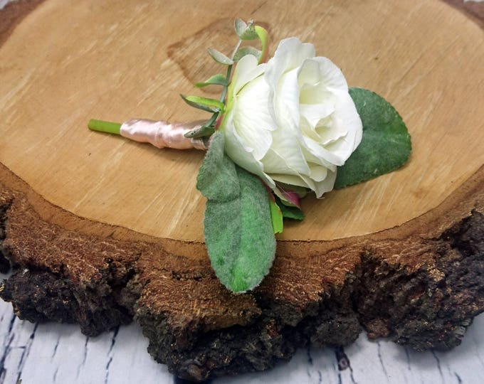 Wedding boutonniere with realistic silk flowers, single white rose with dusty miller flocked leafs greenery