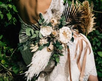 Palm leaves pampas grass wedding bouquet, Boho chic wedding bouquet, dried flower bouquet, neutral colors wedding flowers, eco bouquet