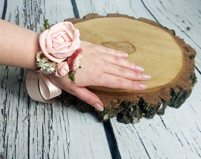 Blush pink green white rustic wedding WRIST CORSAGE bridesmaids mother Sola Flower greenery cypress burlap woodland straw Flowers custom