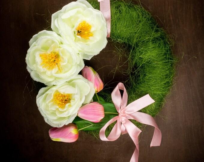 Green pink tulips cream peony front door floral wreath, Easter spring wedding arrangement, home decor