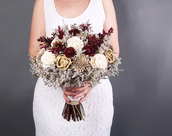 Ivory, burgundy, gold and brown rustic wedding BOUQUET