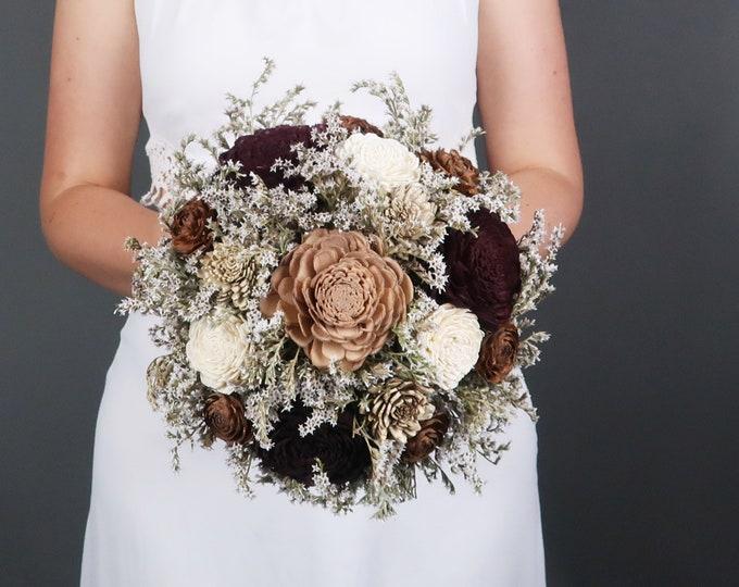 Ivory brown caramel bronze sola flowers wedding BOUQUET dried limonium satin ribbon lace vintage elegant winter autumn earth colors bouquet