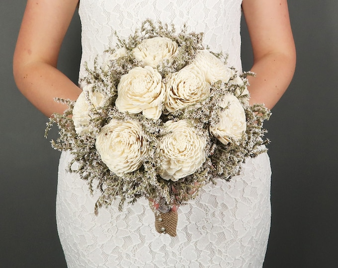 Large ivory rustic wedding BOUQUET Sola Flowers dried limonium Burlap lace pearls bridal vintage custom