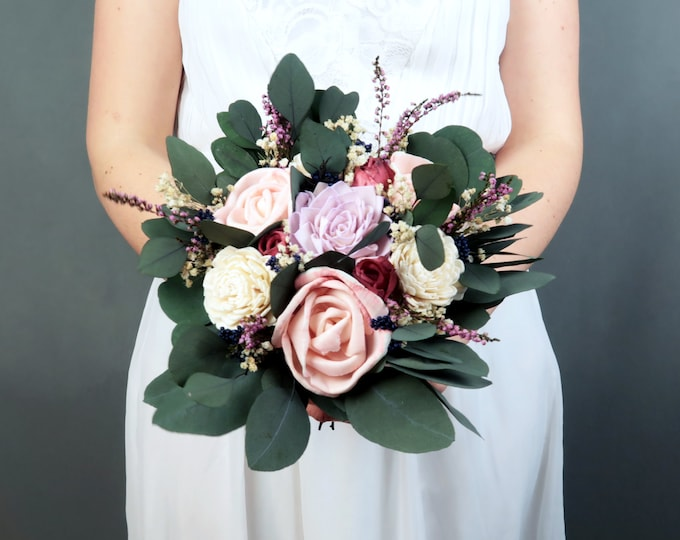 Bridesmaid wedding bouquet preserved eucalyptus ivory dusty pink lavender blue sola flower gypsophila heather vintage style small bouquet