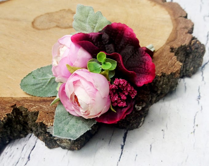 Wedding boutonniere realistic silk flowers dusty miller flocked leafs greenery pink burgundy marsala wine ranunculus hydrangea