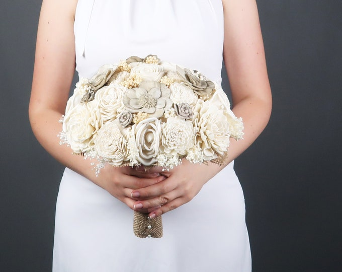 Ivory and warm gray large bridal bouquet sola flowers burlap lace, southwestern rustic chic, simple elegant realistic floral decoration