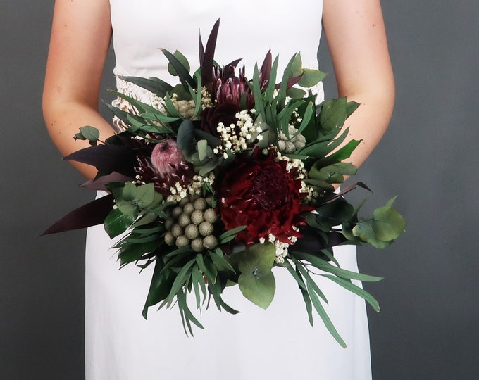 Woodland boho wedding protea bridesmaid bouquet