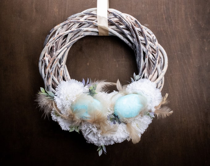 Rustic Easter floral wreath, front door decoration, beige turquoise eggs, feathers white carnations, brown wicker, shabby chic home decor