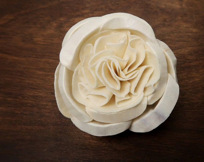 Wooden Sola Flowers garden English rose peony 8cm, DIY Wedding bouquet decor, white ivory natural eco flowers, organic floral supply