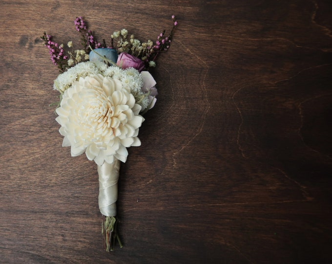 Sola flower Pastel boutonniere ivory blue lavender purple preserved flowers real heather spring romantic wedding field flowers for dads