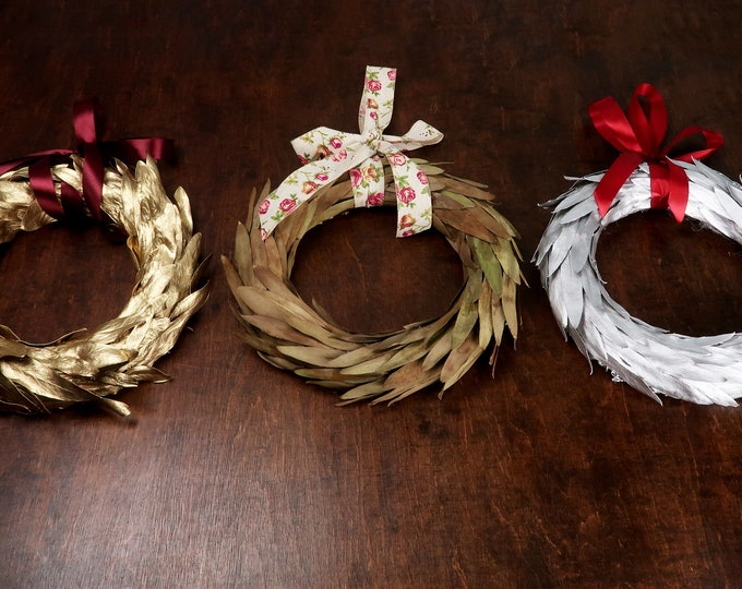 Rustic winter wreath, front door home decor, simple mistletoe leaves wreath, natural Christmas wedding country farmhouse decoration