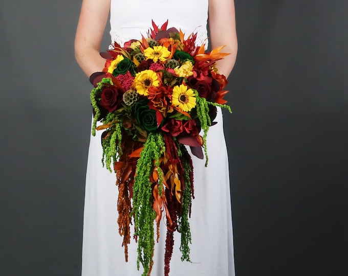 Cascading fall colors wedding bouquet with real preserved flowers and greenery