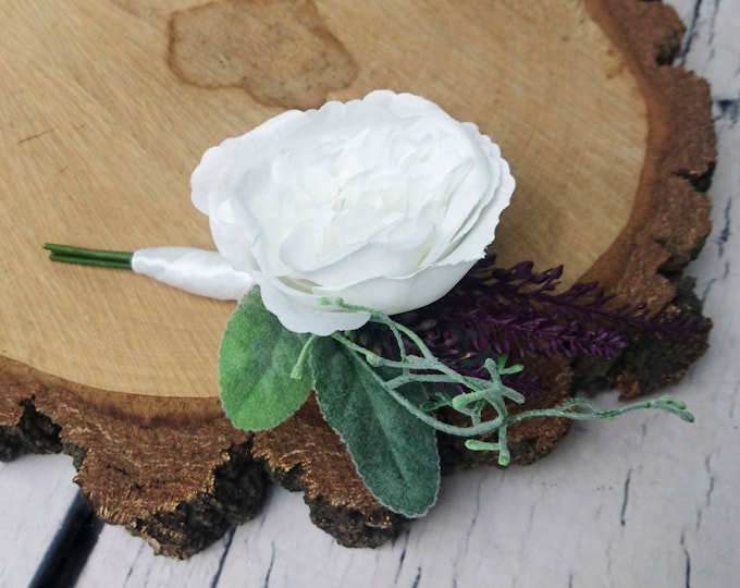 Plum purple white rose wedding boutonniere tropical flowers greenery elegant groom groomsman dusty miller