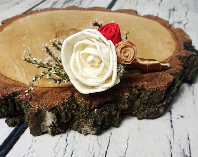 Ivory red caramel bronze wedding BOUTONNIERE sola Flowers dried limonium satin ribbon elegant vintage rose beauty and the beast