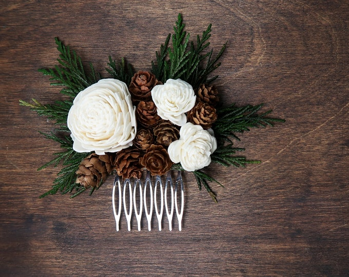 Woodland HAIR COMB with preserved green thuja cones ivory sola flowers rustic burlap hair piece bridal accessory natural greenery hairpiece