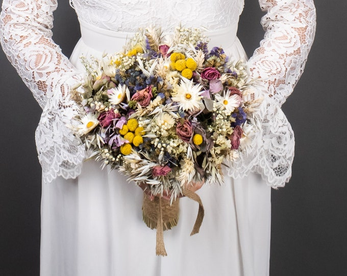Dried flowers wedding bouquet, romantic field flowers in purple pink and yellow, billy buttons bouquet, rustic dried wheat bridal bouquet
