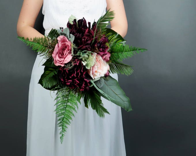 Boho wedding burgundy blush medium bridal bouquet cascading greenery ferns tropical monstera leafs artificial silk flowers realistic roses