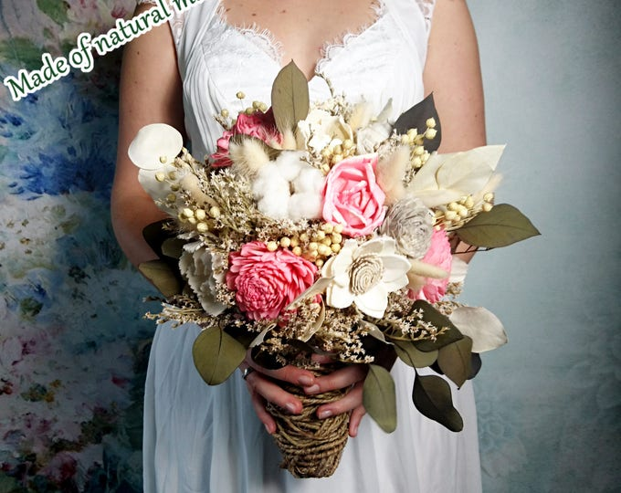 Ivory pink boho wedding bouquet with eucalyptus greenery, sola flowers and rustic wine wire