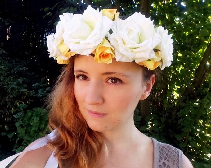 Silk flowers CROWN / WREATH ivory off white yellow rose wedding ribbon Flower girl Bride summer realistic