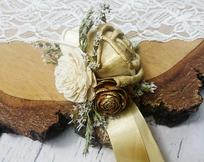Gold glamour wedding wrist corsage cedar rose Sola Flowers ivory dried flowers satin ribbon elegant great gatsby 20s retro
