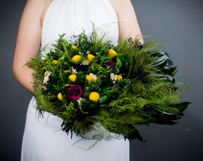 Preserved flower tropical wedding bouquet, purple plum green yellow craspedia, real rose cascading greenery realistic boho bouquet