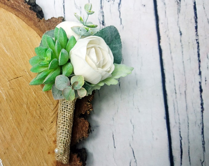Greenery succulent wedding boutonniere for groom sola flowers dusty miller ivory elegant simple classy burlap natural eco