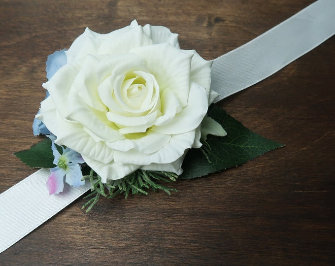 White rose blue hydrangea wedding prom wrist corsage sash belt realistic silk flowers single rose dusty miller greenery ivory elegant