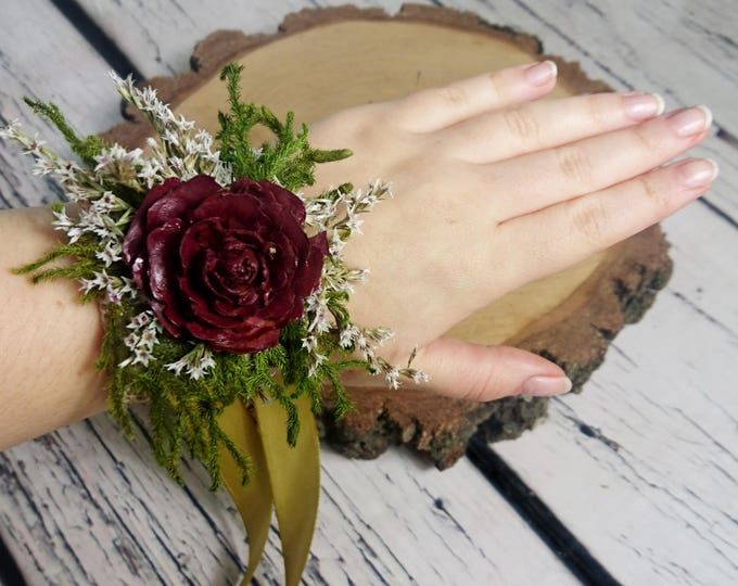 Burgundy cedar rose rustic WRIST CORSAGE with preserved greenery and dried flowers with gold satin ribbon for bridesmaid winter fall autumn