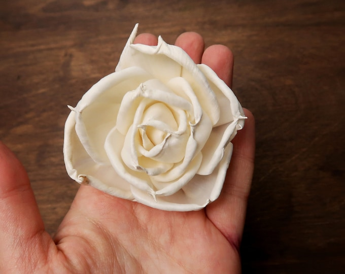 Organic Wooden rose Sola Flowers wholesale bulk, wedding white ivory diy bouquet floral supply rustic 6cm natural table party decor